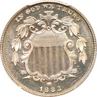 1883 SHIELD NICKEL PR / PROOF 65 CAC, PCGS 5C C42109