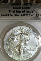 2012 ANACS MS70 AMERICAN SILVER EAGLE FIRST DAY OF ISSUE 07717-13329