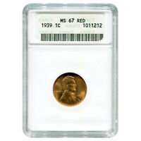 CERTIFIED LINCOLN CENT 1939 MINT STATE 67 RED ANACS