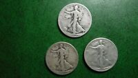 1936-P D S  50C WALKING LIBERTY HALF DOLLARS, 3 COINS 90 SILVER