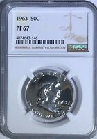 1963 NGC PF67 PROOF FRANKLIN HALF DOLLAR WHITE COINS 50 C 90  SILVER