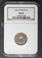 1867 NO RAYS SHIELD NICKEL, NGC MINT STATE 64 GRADE 5 COIN