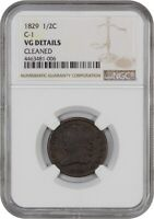 1829 1/2C NGC VG DETAILS - CLEANED BN C-1 - HALF CENT
