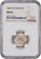 1867 5C NGC MINT STATE 65 NO RAYS SHIELD NICKEL