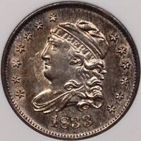 1833 LM-9 CAPPED BUST HALF DIME, ANACS MINT STATE 61, LOOKS CHOICE   DAVIDKAHNCOINS