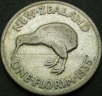NEW ZEALAND 1 FLORIN 1935   SILVER   GEORGE V.   F    1506