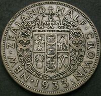 NEW ZEALAND 1/2 CROWN 1933   SILVER   GEORGE V.   VF   1508