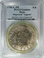 AUGUSTE SHIPWRECK 1756 L JM PCGS 8 REALES PERU TREASURE SILVER PIECES OF EIGHT