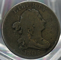 1805 DRAPED BUST HALF CENT VG CONDITION