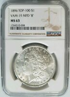 1896 SILVER MORGAN DOLLAR NGC MINT STATE 63 VAM 19 MPD MISPUNCHED 8 MINT ERROR TOP 100