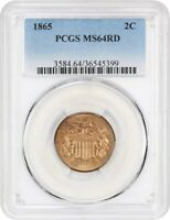 1865 2C PCGS MINT STATE 64 RD - 2-CENT PIECE