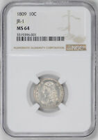 1809 CAPPED BUST 10C NGC MINT STATE 64