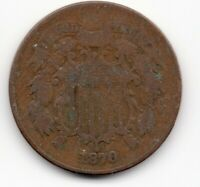 1870 TWO 2 CENT PIECE TOUGH DATE - SEE SCAN FOR CONDITION