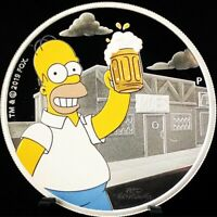 2019 TUVALU 1OZ .9999 SILVER HOMER SIMPSON PROOF COIN WITH M