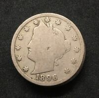 1 1896 LIBERTY V NICKEL ABOUT GOOD TO GOOD