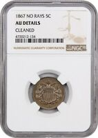 1867 5C NGC AU DETAILS NO RAYS, CLEANED - SHIELD NICKEL