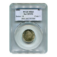 CERTIFIED LIBERTY NICKEL 1883 NO CENTS MINT STATE 64 PCGS