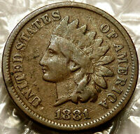 1881 INDIAN HEAD CENT. ABOUT FINE COIN. BOLD DATE. SEMI- COIN. 189