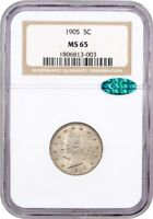 1905 5C NGC/CAC MINT STATE 65 - POPULAR TYPE COIN - LIBERTY V NICKEL - POPULAR TYPE COIN