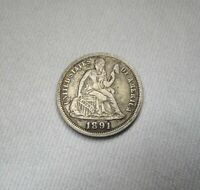 1891-O SILVER SEATED LIBERTY DIME VF DETAILS COIN AH538