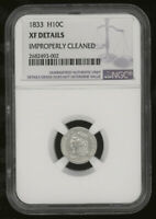 1833 CAPPED BUST HALF DIME H10C NGC EXTRA FINE  DETAILS IMPROPERLY CLEANED