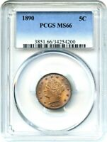 1890 5C PCGS MINT STATE 66 - BEAUTIFUL OBVERSE TONING - LIBERTY V NICKEL