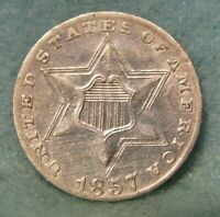 1857 THREE CENT SILVER XF   US COIN
