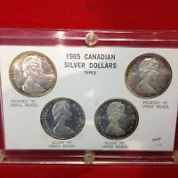 4  1965 CANADIAN SILVER DOLLARS TYPES IA CAPITAL HOLDER