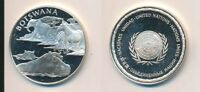 BOTSWANA: 12.9G 925 SILVER PROOF MEDAL  32MM  UN COUNTRIES