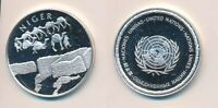 NIGER: 12.9G 925 SILVER PROOF MEDAL  32MM  UN COUNTRIES