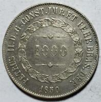 BRAZIL 1000 REIS 1850 EXTRA FINE SOME HAIRLINES .3759 OUNCE