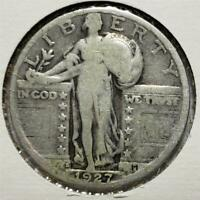 STANDING LIBERTY QUARTER, 1927S, GOOD, LOW-MINTAGE DATE, .1808 OUNCE SILVER