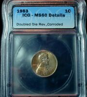 1983 USA LINCOLN CENT  DOUBLE DIE REVERSE ICG MS 60 DETAILS