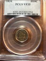1834 H10C CAPPED BUST HALF DIME PCGS VF35