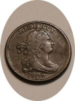 1806 DRAPED BUST HALF CENT BROWN FULL DETAIL ROTATED DIES