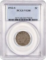 1912-S 5C PCGS VG-08 - KEY DATE - LIBERTY V NICKEL - KEY DATE