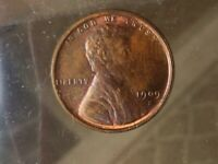 1909S VDB LINCOLN CENT. UNGRADED. SOME RED. RARE ANTIQUE  ES