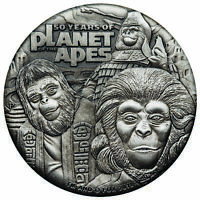 2018 P $2 TUVALU 50 YEARS PLANET OF THE APES 2OZ HR 9999 SIL