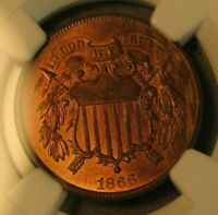 1866 TWO CENT PIECE NGC CERTIFIED MINT STATE 64 RB    US COIN 3620