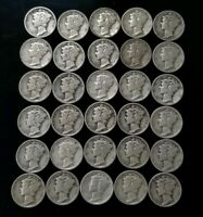 1930'S MERCURY DIMES LOT OF 30   90  SILVER   US COINS [SC88