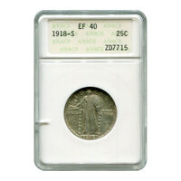 CERTIFIED STANDING LIBERTY QUARTER 1918-S EF40 ANACS