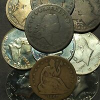 1795 FLOWING HAIR AND 1865S SEATED HALF DOLLARS IN 10 HALF D