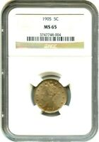 1905 5C NGC MINT STATE 65 - TYPE COIN - LIBERTY V NICKEL