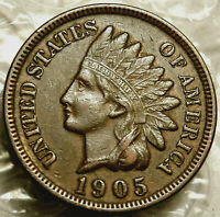 1905 INDIAN CENT. EXTRA FINE. FULL LIBERTY.  BOLD DATE & FULL RIMS.  158