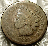 1868 INDIAN HEAD CENT. TYPE 1.  GOOD. BOLD FULL DATE.  COIN. 104