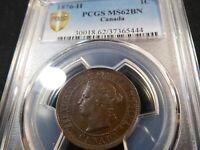 A11 CANADA 1876 H LARGE CENT PCGS MS 62 BROWN
