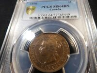 A13 CANADA 1896 LARGE CENT PCGS MS 64 BROWN