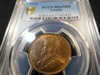 A15 CANADA 1916 LARGE CENT PCGS MS 65 RED BROWN