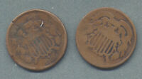 1864 & 1866 TWO 2 CENT PIECES, LOT OF 2 - CIRC. LOW GRADE