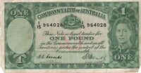 1949 COMMONWEALTH OF AUSTRALIA ONE 1 POUND NOTE BANKNOTE COO